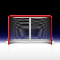Ice hockey net, goal on black