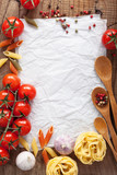 blank paper for recipes with ingredients tomatoes pasta pepper