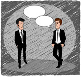 Businessman chatting cartoon blank speech bubbles sketch