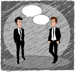 Businessman chatting cartoon blank speech bubbles sketch