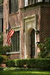 Brick House Entrance with USA Flag