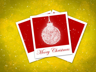 christmas ball frame on staryy yellow background