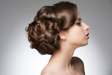 Girl with beautiful hairstyle