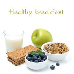 healthy food - crisp bread, apple, blueberries, milk and muesli