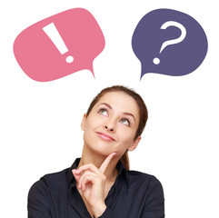 Thinking woman with question mark and exclamation in balloons