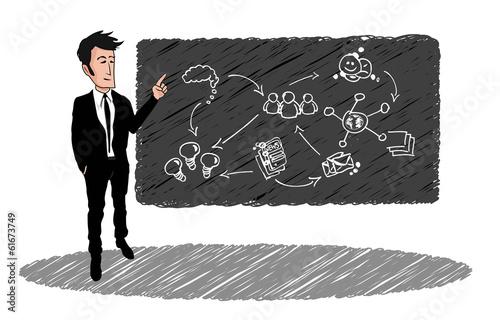 Dessin businessman costume noir diagramme tableau noir