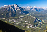 Banff town, valley and mountains, Alberta, Canada