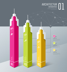 Infographics, Architectur building design, origami paper cut