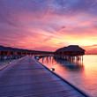 canvas print picture - Sunset at Maldivian beach