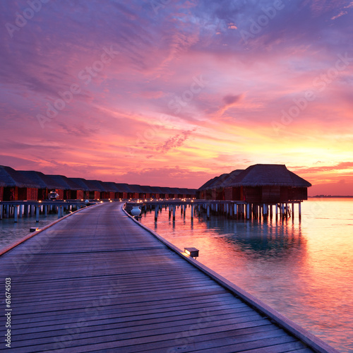 canvas print picture Sunset at Maldivian beach