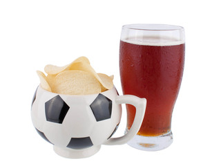 Beer and crisps isolated on a white background