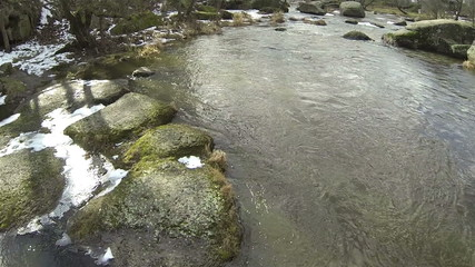 Small river cost with stones. Aerial
