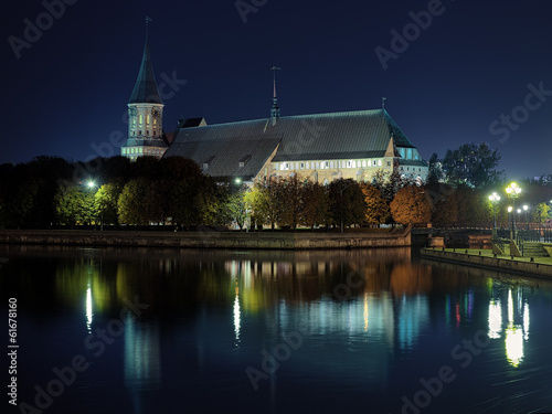 Koenigsberg Cathedral in Kaliningrad in the night, Russia