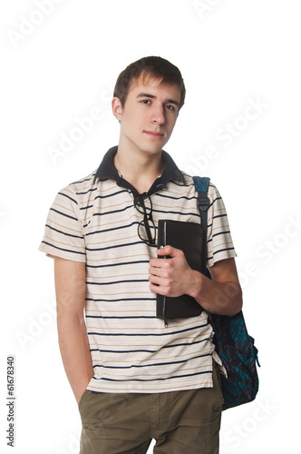 picture of student with backpack on white