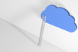 CLOUD 3D UP A WHITE LADDER against a white wall