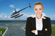 business woman and helicopter