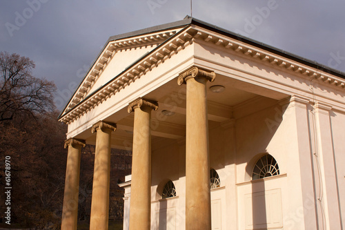 Front facade of renaissance building with ionic columns.