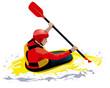 young man rowing in yellow kayak