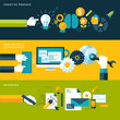 Set of flat design vector illustration concepts design process