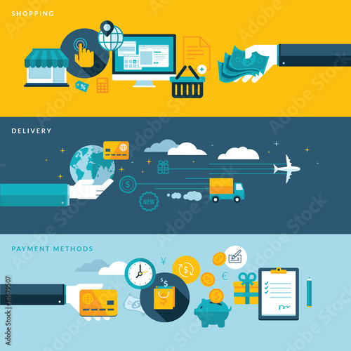 Set of flat design vector illustration concepts for e-commerce