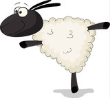 Nice cartoon vector sheep is a acrobat