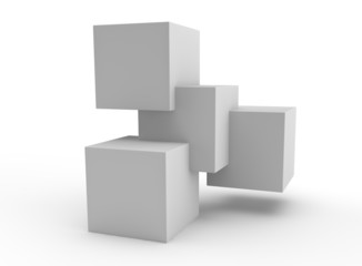 simple structure of a stack of cubes to represent teamwork
