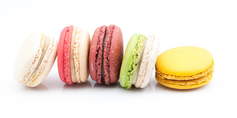 colorful macaroon on white background