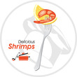 Delicious shrimp on a fork. Icon for a cooking design
