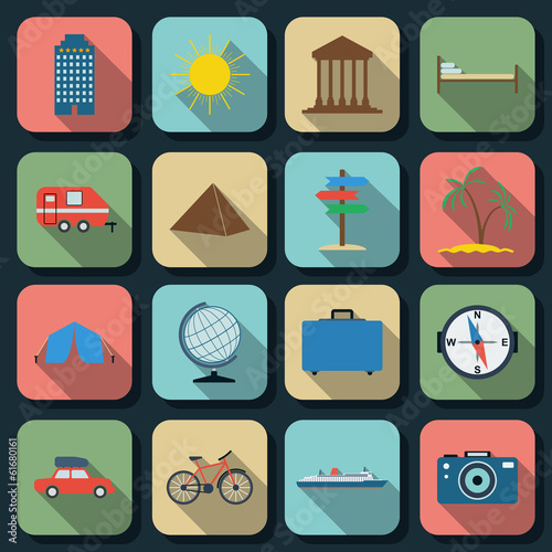 Travel and tourism flat vector icons