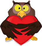Vector owl with heart
