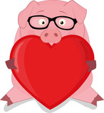 vector pig with big heart