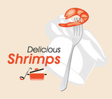 Delicious shrimps. Icon for a cooking design