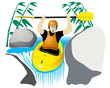 active man in yellow boat drops waterfall on the river