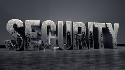 metallic typography of the word Security