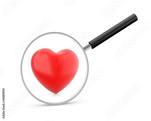 Magnifying glass & red heart
