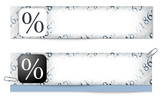 set of two banners with the texture of the numbers and percent s