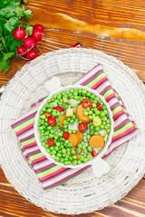 Green peas dish. Vegetarian dinner