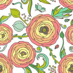 Ranunculus-rose flowers seamless vector pattern, pastel