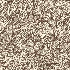 Seamless floral vintage ornamented doodle pattern