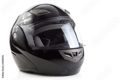 canvas print picture Black, glossy motorcycle helmet