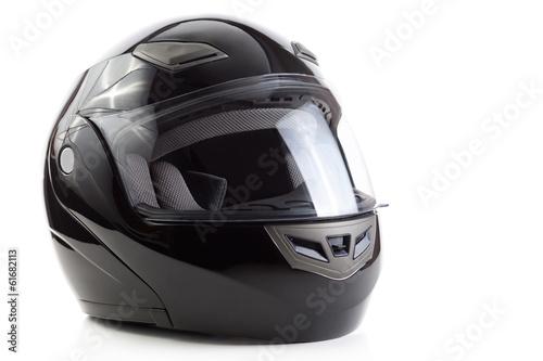 Black, glossy motorcycle helmet - 61682113