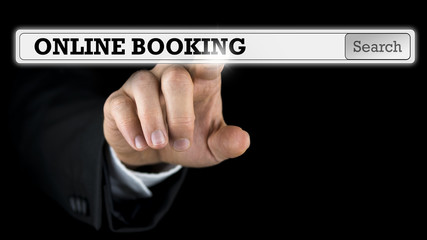 Online booking written in a navigation bar