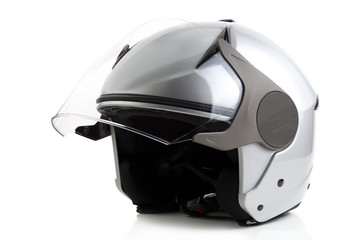 Silver bike helmet isolated