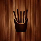 Fried potatoes icon. Wooden background.