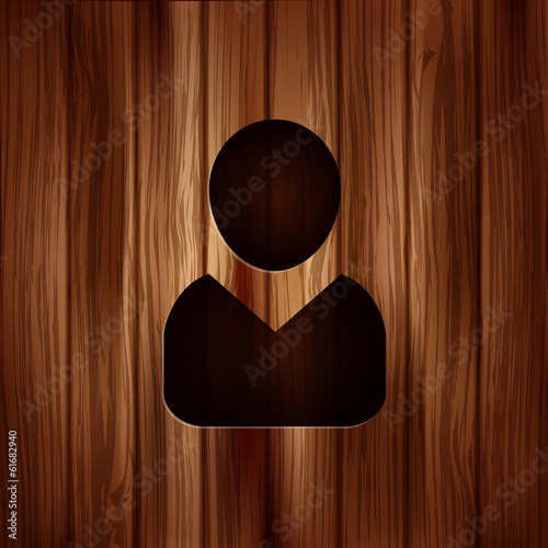 Person icon.. Wooden background.