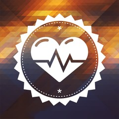 Heart with Cardiogram Line on Triangle Background.