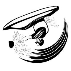 black and white illustration of freestyle kayaker