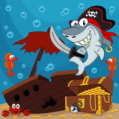 pirate shark - vector illustration © nataka