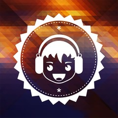 Boy with Headphones Icon on Triangle Background.