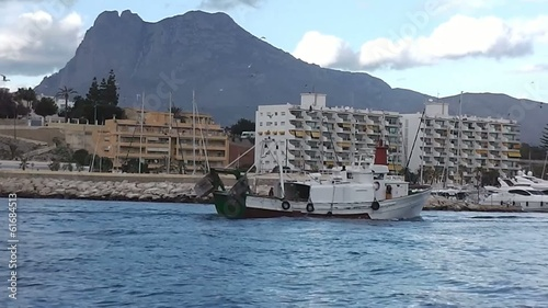 Trawler fishing boat return to Villajoyosa port